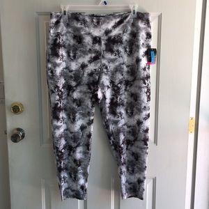 New Womens Blk/Wht Tye Dye Yoga Capri Pants Lrg 2X